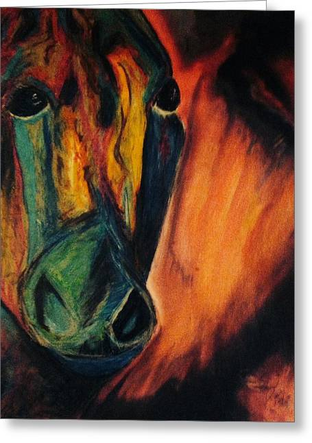 Equine Art Pastels Pastels Greeting Cards - Dissident Greeting Card by Edward Paul