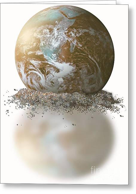 Desertification Greeting Cards - Dissolving Earth Greeting Card by Gwen Shockey/NASA