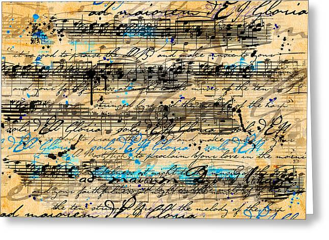 Vintage Music Greeting Cards - Dissonance In Blue Greeting Card by Gary Bodnar