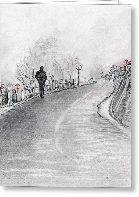 Winter Roads Drawings Greeting Cards - Distance Greeting Card by Sunayana Nair Kanjilal