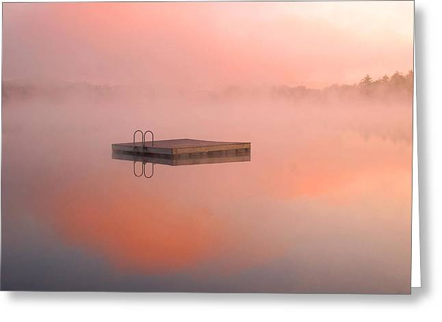 Distant Dock at Sunrise Greeting Card by Lucia Vicari