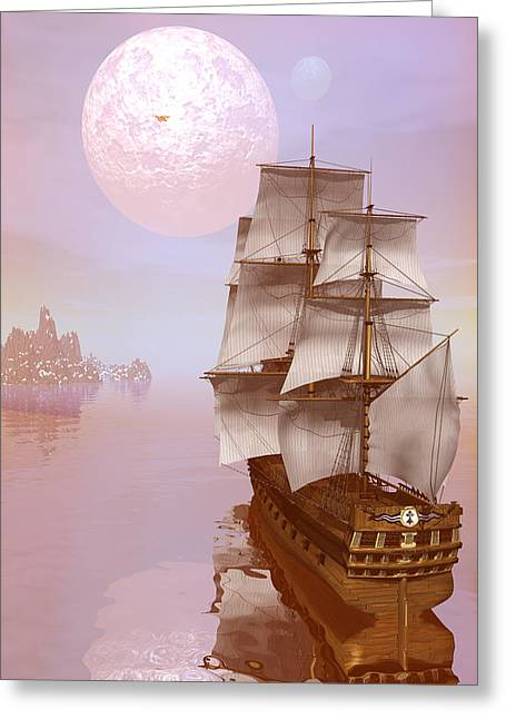 Tall Ships Greeting Cards - Distant explorers Greeting Card by Claude McCoy