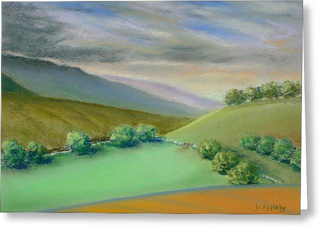 Gate Pastels Greeting Cards - Distant Hills Greeting Card by Jo Appleby