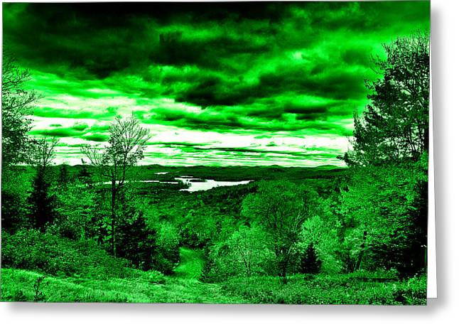 Lanscape Digital Greeting Cards - Distant Lakes Greeting Card by David Patterson