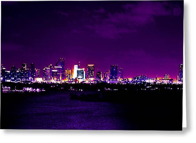 4th July Photographs Greeting Cards - Distant Lights Greeting Card by Michael Guirguis