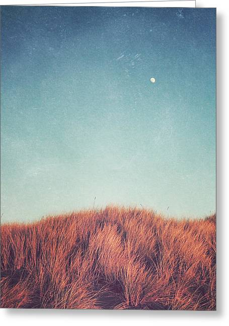 Minimal Landscape Greeting Cards - Distant Moon Greeting Card by Lupen  Grainne