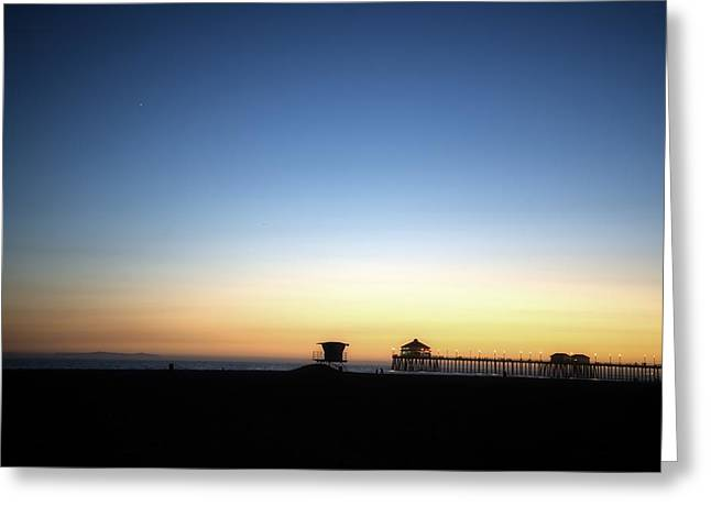 Surf City Usa Greeting Cards - Distant Pier at Dusk Greeting Card by Spencer McDonald