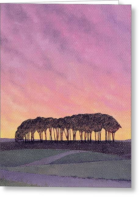 Rural Landscapes Greeting Cards - Distant Pines Oil On Canvas Greeting Card by Ann Brain