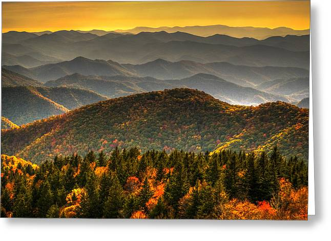Sunset Greeting Cards Greeting Cards - Distant Ridges Greeting Card by Serge Skiba
