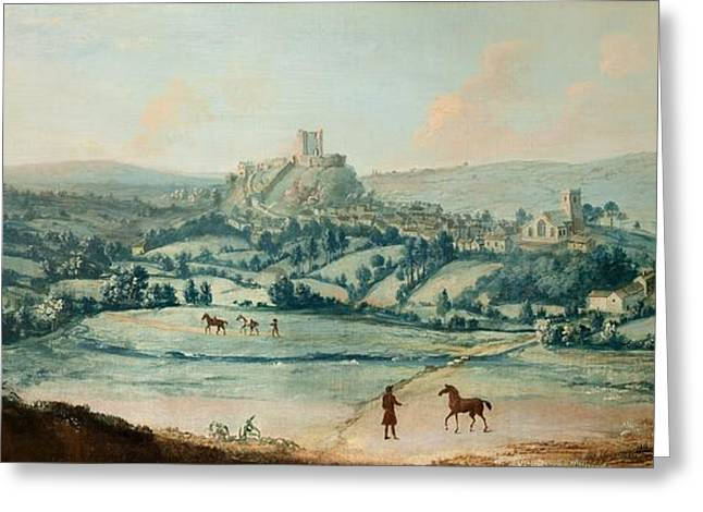 England Rural Village Greeting Cards - Distant View Of Clitheroe, C.1730 Greeting Card by Matthias Read