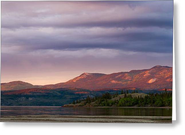 Far Above Greeting Cards - Distant Yukon mountains glowing in sunset light Greeting Card by Stephan Pietzko
