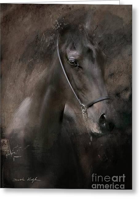 Horses Digital Art Greeting Cards - Distinguished Greeting Card by Dorota Kudyba