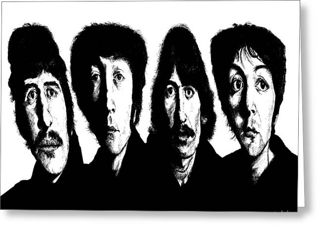 Ringo Starr Drawings Greeting Cards - Distorted Beatles Greeting Card by Kenneth Stock