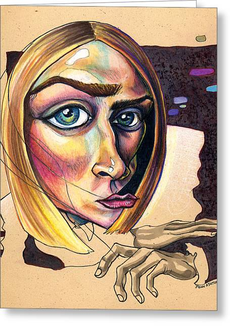 Distortion Mixed Media Greeting Cards - Distorted Beauty Greeting Card by John Ashton Golden