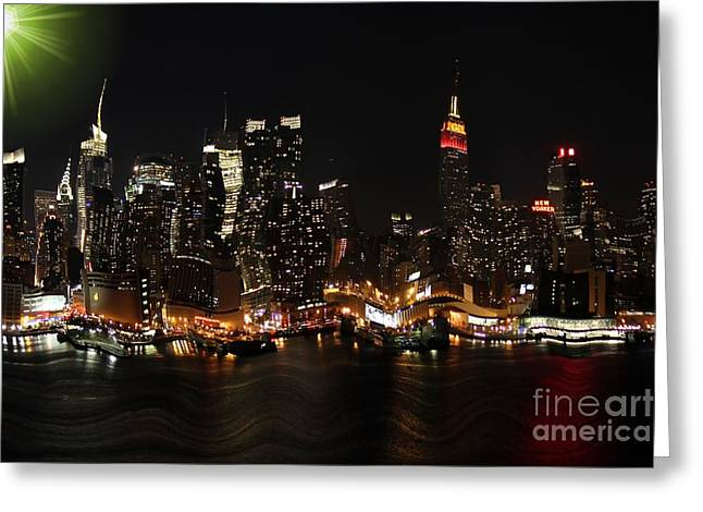 Warp Greeting Cards - Distorted New York at Night Greeting Card by Sophie Vigneault