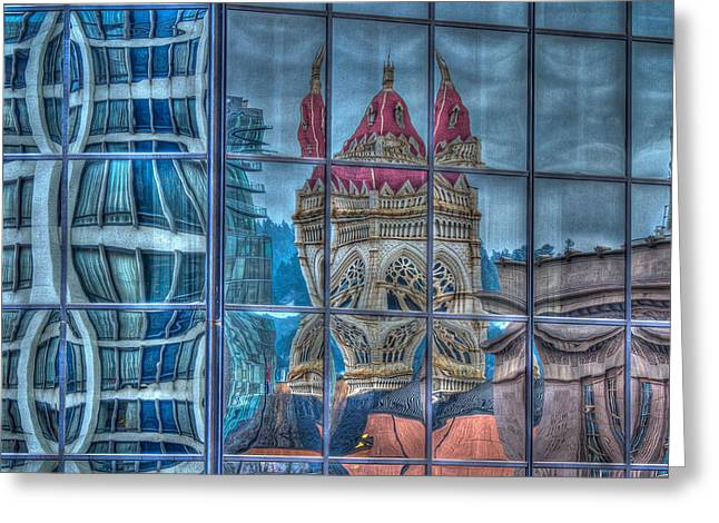 Glass Reflecting Greeting Cards - Distorted Portland Greeting Card by Jean Noren