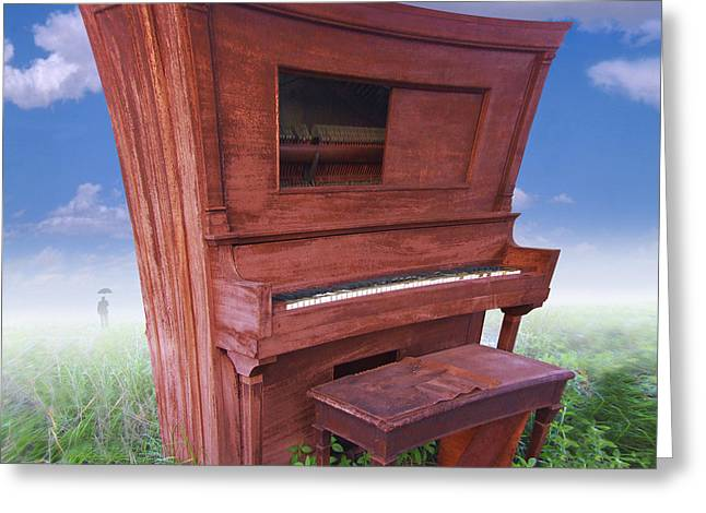 Player Digital Greeting Cards - Distorted Upright Piano 2 Greeting Card by Mike McGlothlen