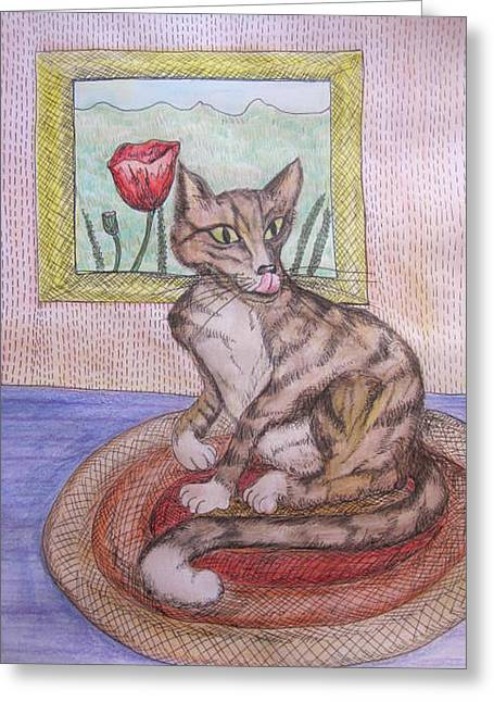 Pictures Of Cats Drawings Greeting Cards - Distracted Cat Greeting Card by Cherie Sexsmith