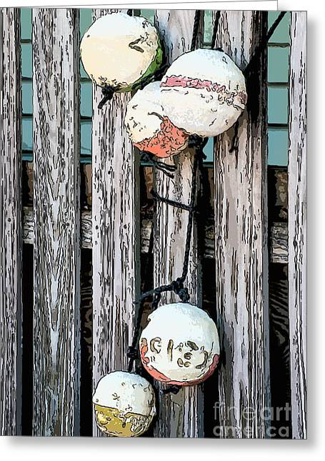 Liberal Greeting Cards - Distressed Buoys on Fencing Key West - Digital Greeting Card by Ian Monk