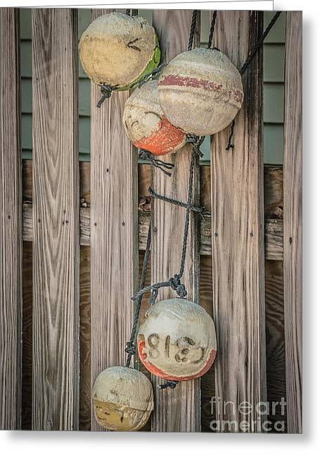 Liberal Greeting Cards - Distressed Buoys on Fencing Key West - HDR Style Greeting Card by Ian Monk