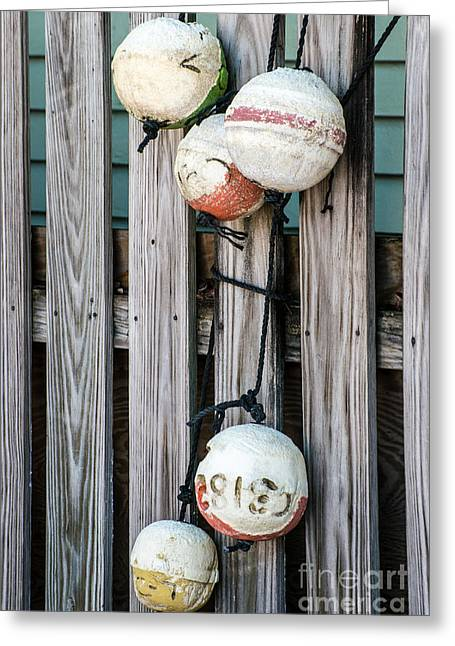 Distressed Buoys On Fencing Key West Greeting Card by Ian Monk