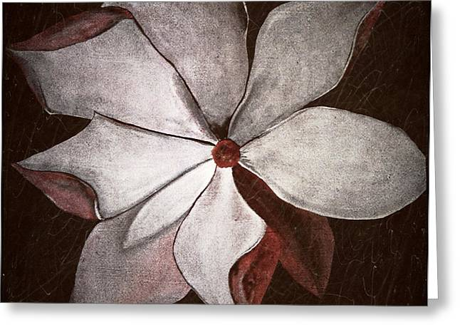 Laura Carter Greeting Cards - Distressed Flower Painting Fine Art Print Greeting Card by Laura  Carter