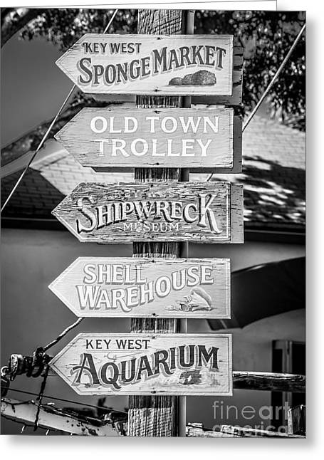 Locations Greeting Cards - Distressed Key West Sign Post - Black and White Greeting Card by Ian Monk