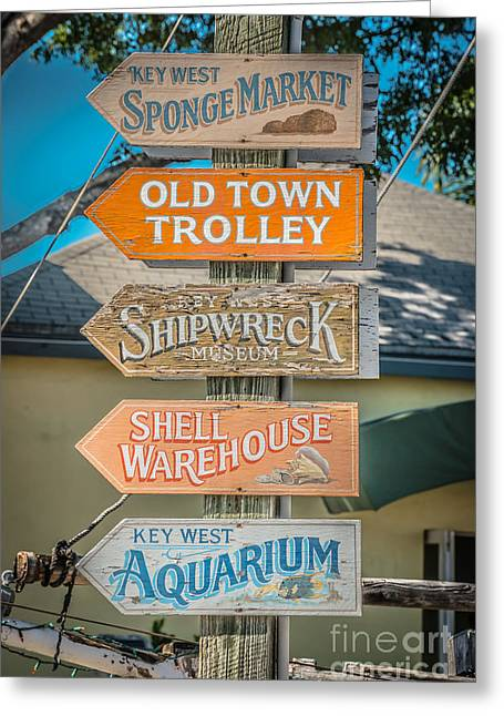 Locations Greeting Cards - Distressed Key West Sign Post - HDR Style Greeting Card by Ian Monk