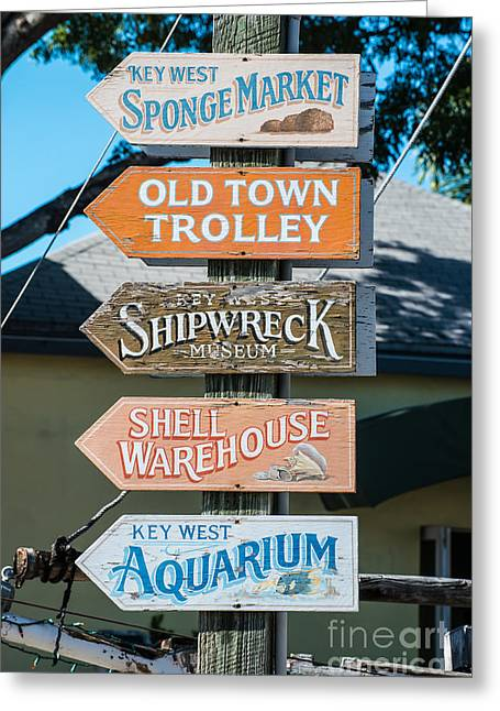 Locations Greeting Cards - Distressed Key West Sign Post Greeting Card by Ian Monk