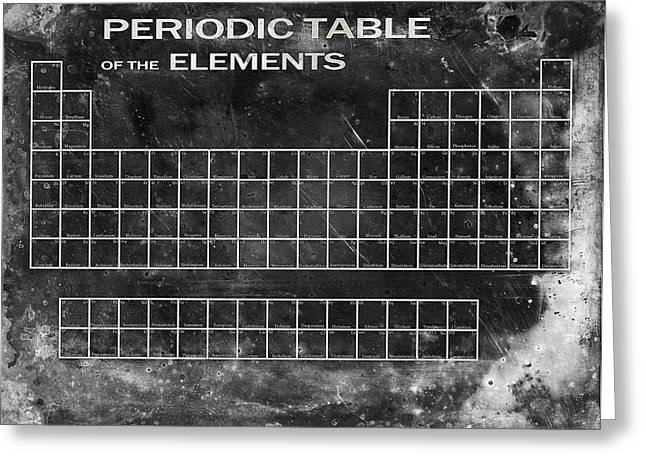 Proton Greeting Cards - Distressed Periodic Table Greeting Card by Daniel Hagerman