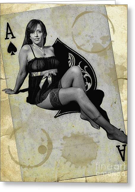 Ruche Greeting Cards - Distressed Pin-Up Greeting Card by Todd and candice Dailey