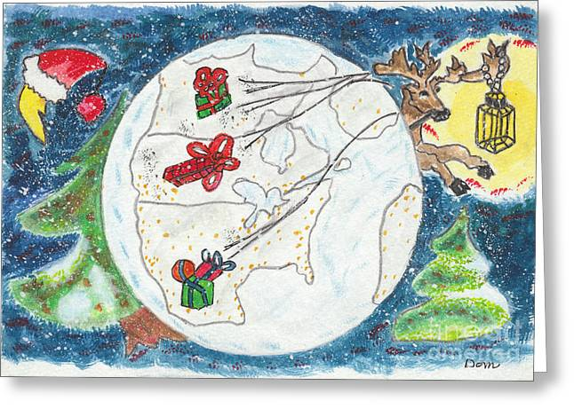 Rudolph Paintings Greeting Cards - Vol de nuit / Night Flight Greeting Card by Dominique Fortier