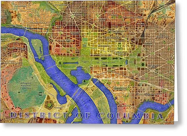 District Columbia Greeting Cards - District of Columbia Map Greeting Card by Paul Hein
