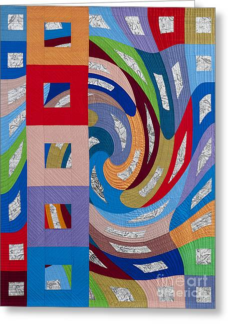 Geometric Tapestries - Textiles Greeting Cards - Disturbances 10 Greeting Card by Marilyn Henrion