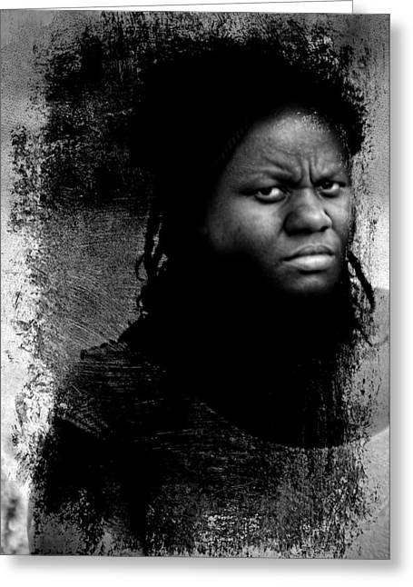 Candid Portraits Greeting Cards - Disturbing Greeting Card by Diana Angstadt