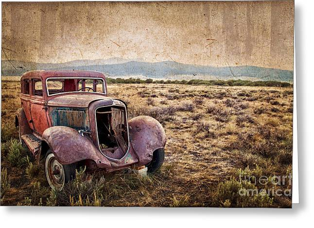 Old Automobile Greeting Cards - Disused Greeting Card by Delphimages Photo Creations