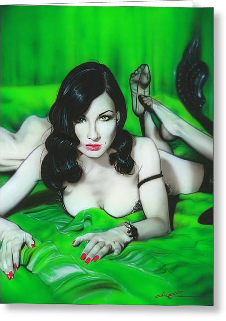 Burlesque Paintings Greeting Cards - Dita Von Teese Greeting Card by Christian Chapman Art