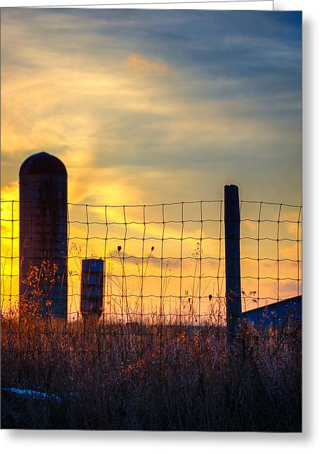 Back Road Greeting Cards - Ditch Sunset Greeting Card by Steve Harrington