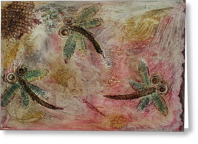 Lyndsey Hatchwell Greeting Cards - Rustic Dragonflies Pinks Greeting Card by Lyndsey Hatchwell