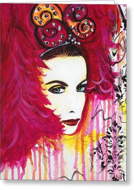 Annie Lennox Greeting Cards - Diva Annie Lennox Greeting Card by Julie Janney