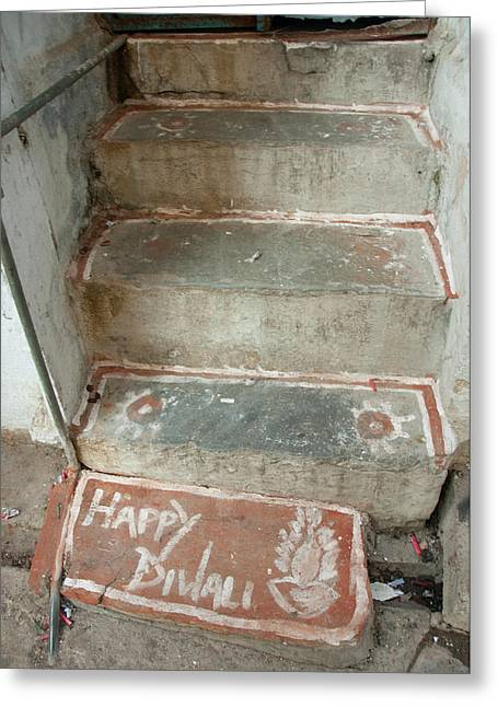 Divali Decoration On A Stoop, Udaipur Greeting Card by Inger Hogstrom