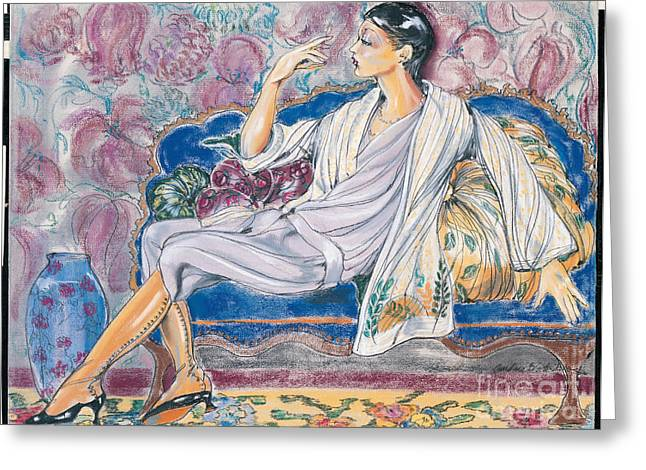 Lounging Pastels Greeting Cards - Divan Greeting Card by Barbara Black