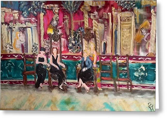 Wine Tour Greeting Cards - Divas of Wine at the Great Hall Greeting Card by Betty Hoaglund