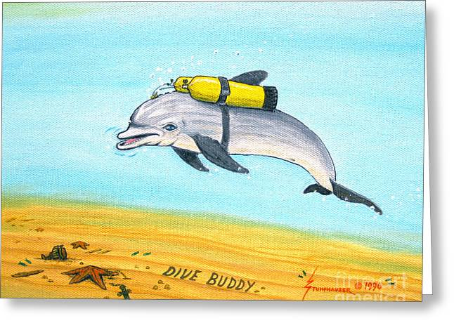 Snorkel Greeting Cards - Dive Buddy Greeting Card by Jerome Stumphauzer