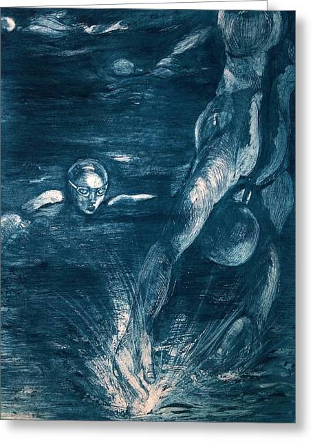 Printed Reliefs Greeting Cards - Dive Greeting Card by C Stephenson-Gibbs