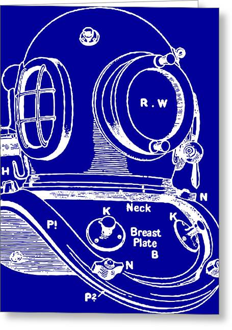 Scuba Diving Drawings Greeting Cards - Dive Helmet Blueprint Greeting Card by
