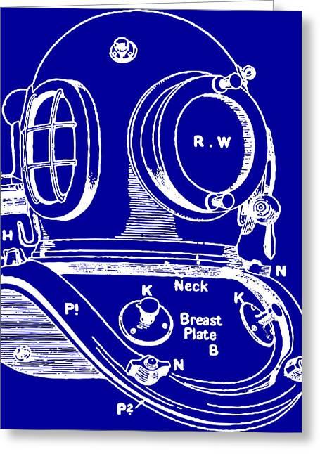 Diving Helmet Greeting Cards - Dive Helmet Blueprint Greeting Card by