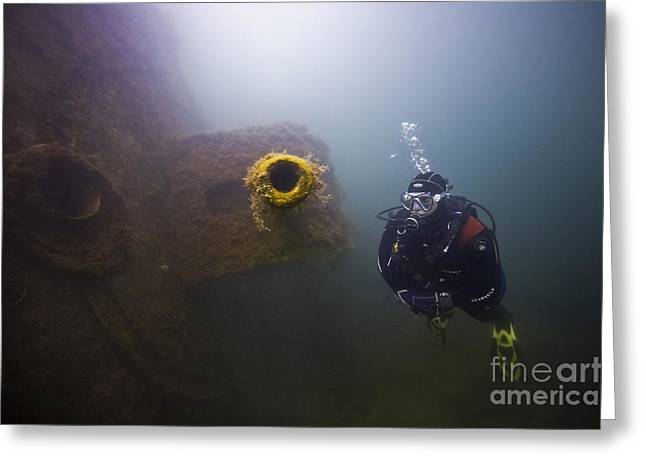 Scuttle Greeting Cards - Diver and gun Greeting Card by Gary Doak
