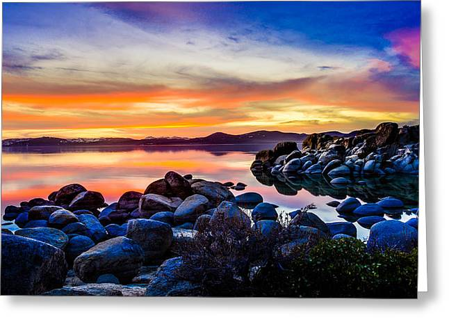Lake Photography Greeting Cards - Divers Cove Lake Tahoe Sunset Greeting Card by Scott McGuire