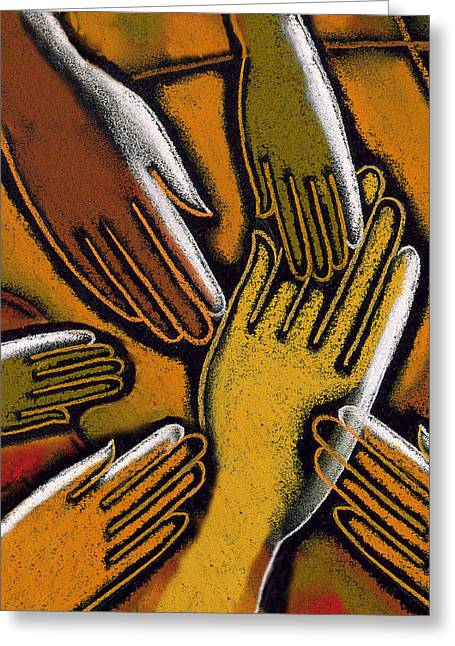 Four People Greeting Cards - Diversity Greeting Card by Leon Zernitsky